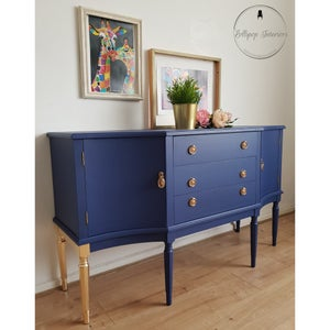 Image of Stunning blue and gold sideboard