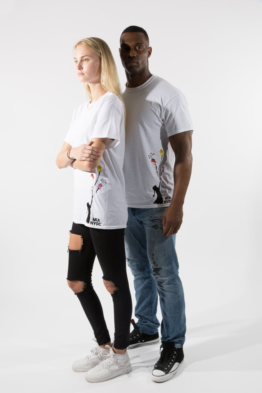 Image of chalk white tee three