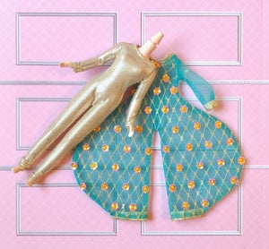 Image of Teal Glitter Luxe Bowie & Gold Lycra Bodysuit