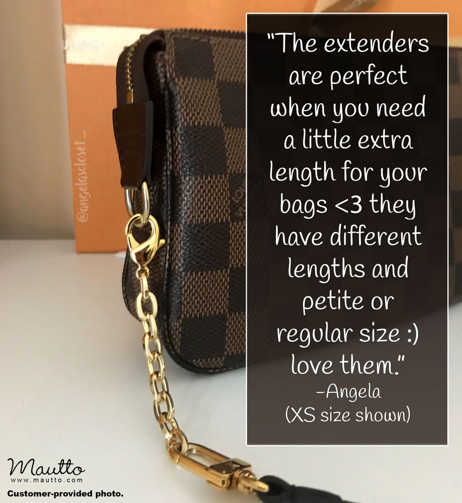 Image of Chain Strap Extender Accessory for LV Pochette & More - Mini Elongated Box Chain with Lobster Clasp