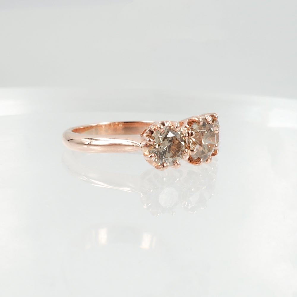 Image of 18ct Rose Gold 3 stone Antique Style Champagne Diamond Engagement Ring