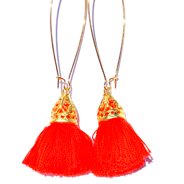Image of Ltd Ed - Gold Waikiki Tassel Earrings - Neon Tangerine
