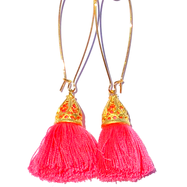 Image of Ltd Ed - Gold Waikiki Tassel Earrings - Coral Pink
