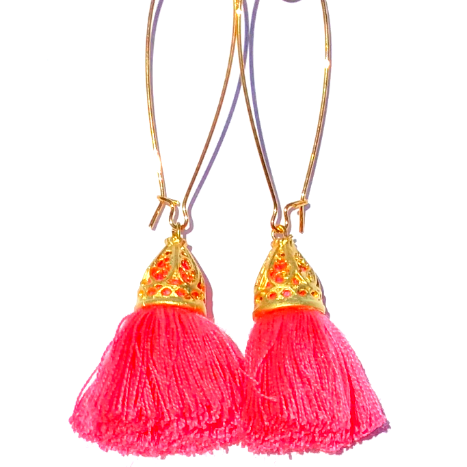 Image of CLEARANCE - Gold Waikiki Tassel Earrings - Coral Pink
