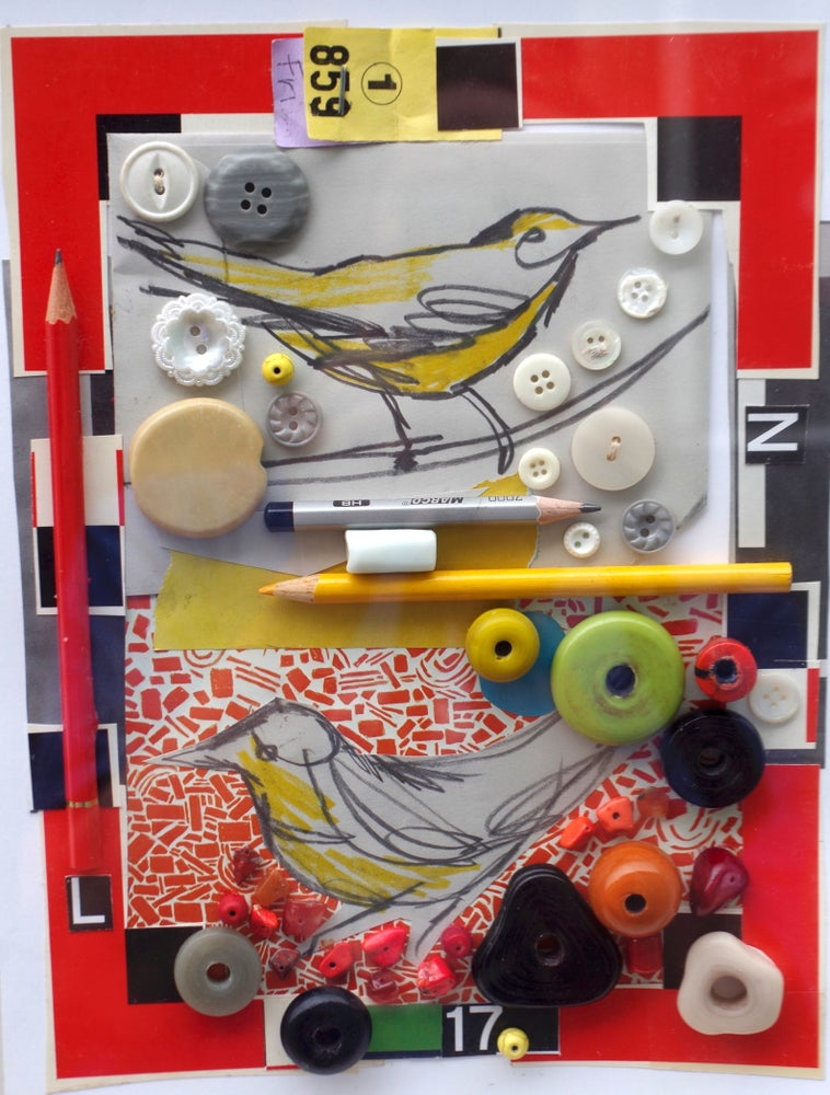 Image of Button Birds Collage