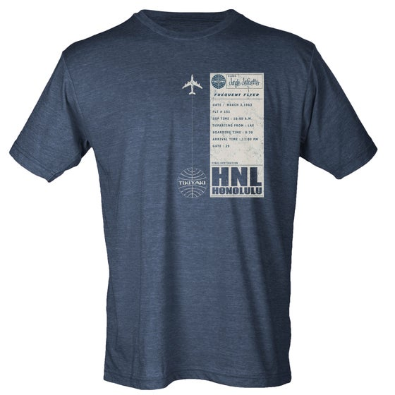 "Image of ""Tikiyaki Airways"" LAX to HNL Vintage Plane Ticket  T-Shirt"