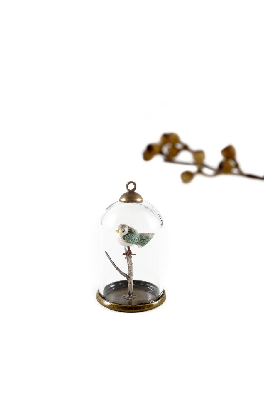 Image of DORIMU MINIATURE BIRD IN GLASS DOME - necklace - GREY