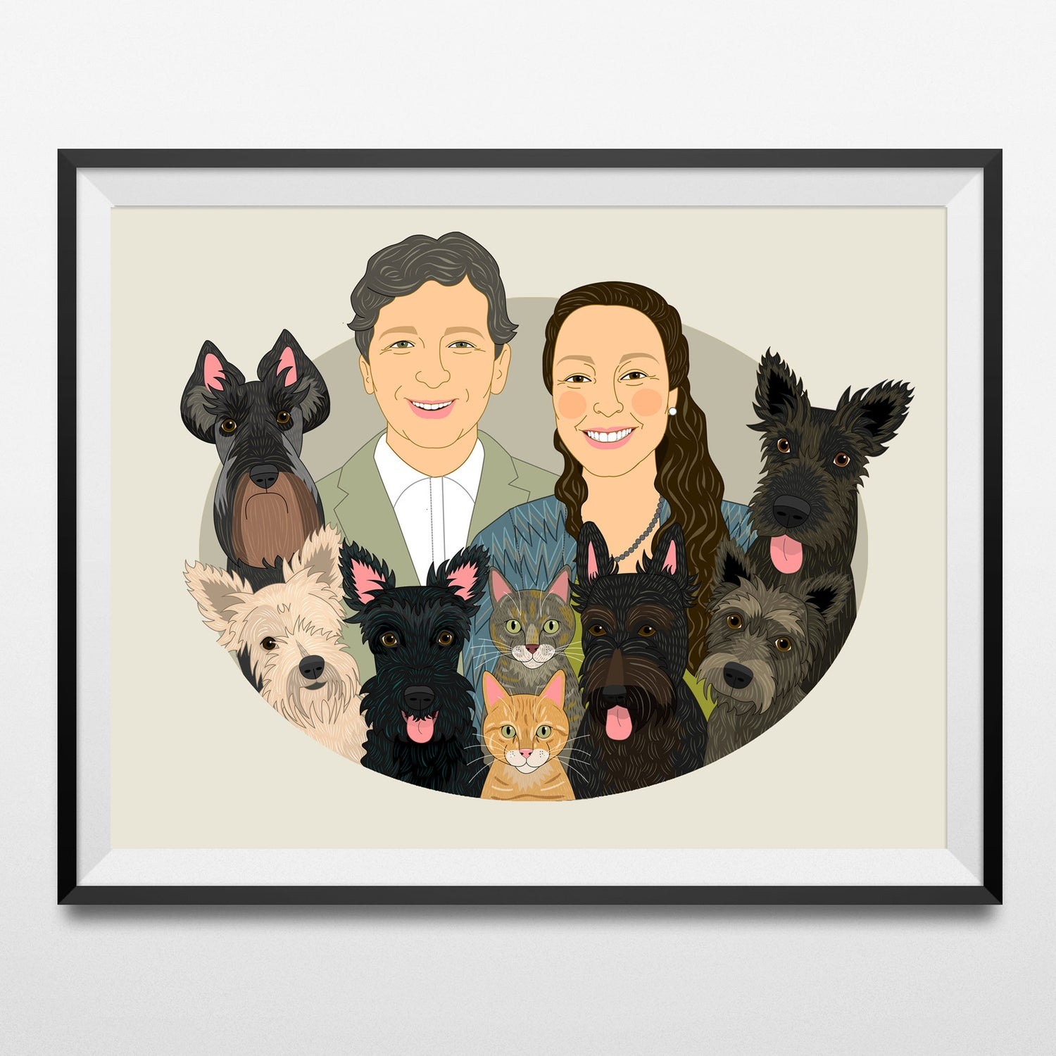 Image of Couple's portrait with 3 or more pets. Custom Portraits from photo.