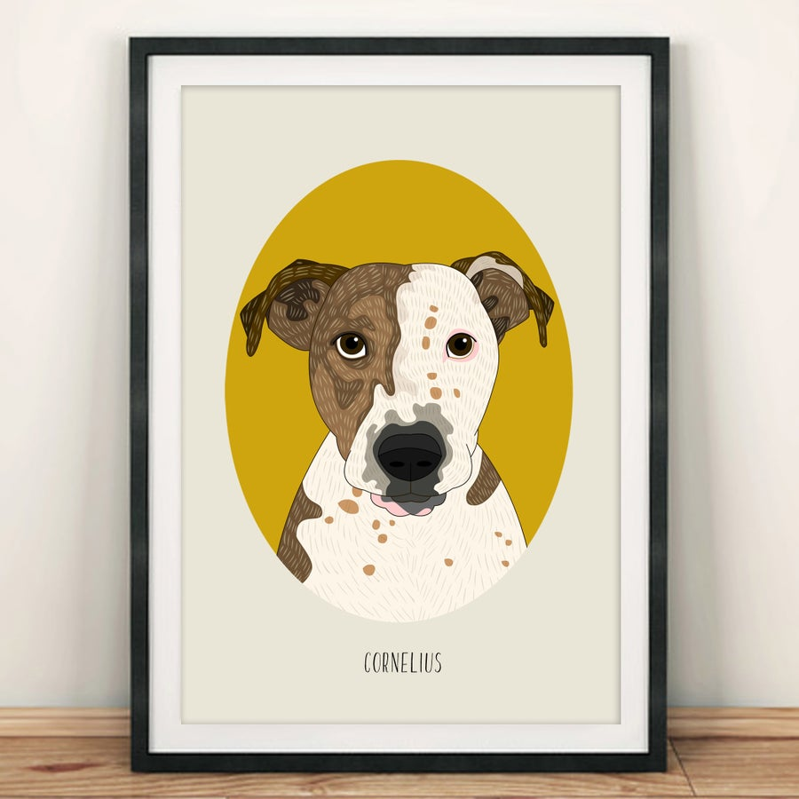 Image of Dog portrait. Dog illustration from photo. Pet portrait.