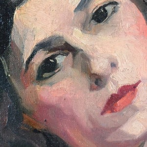 Image of 1930's Portrait of a Lady; Alfred Lop-Montel (1898-1971)