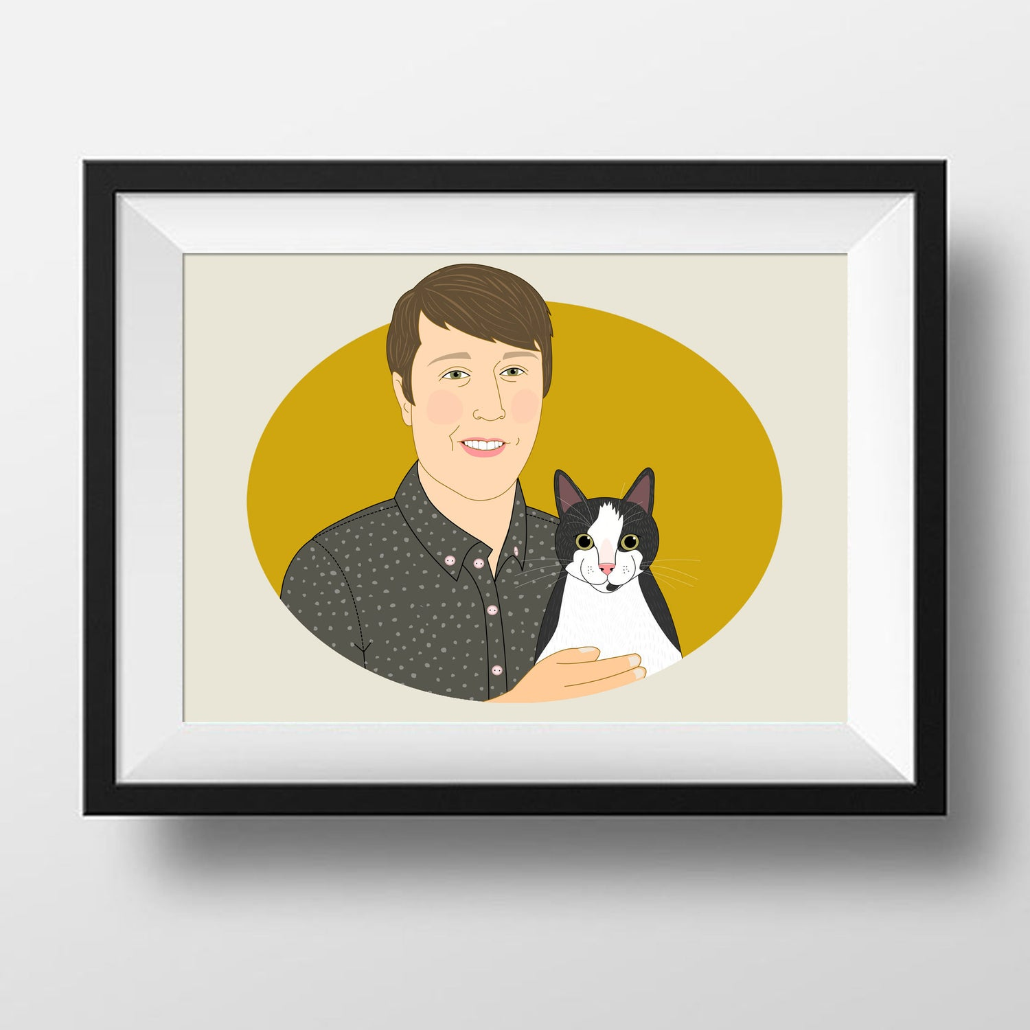 Image of Custom Portrait from photo. Portrait with pet, personalized illustration with dog or cat.