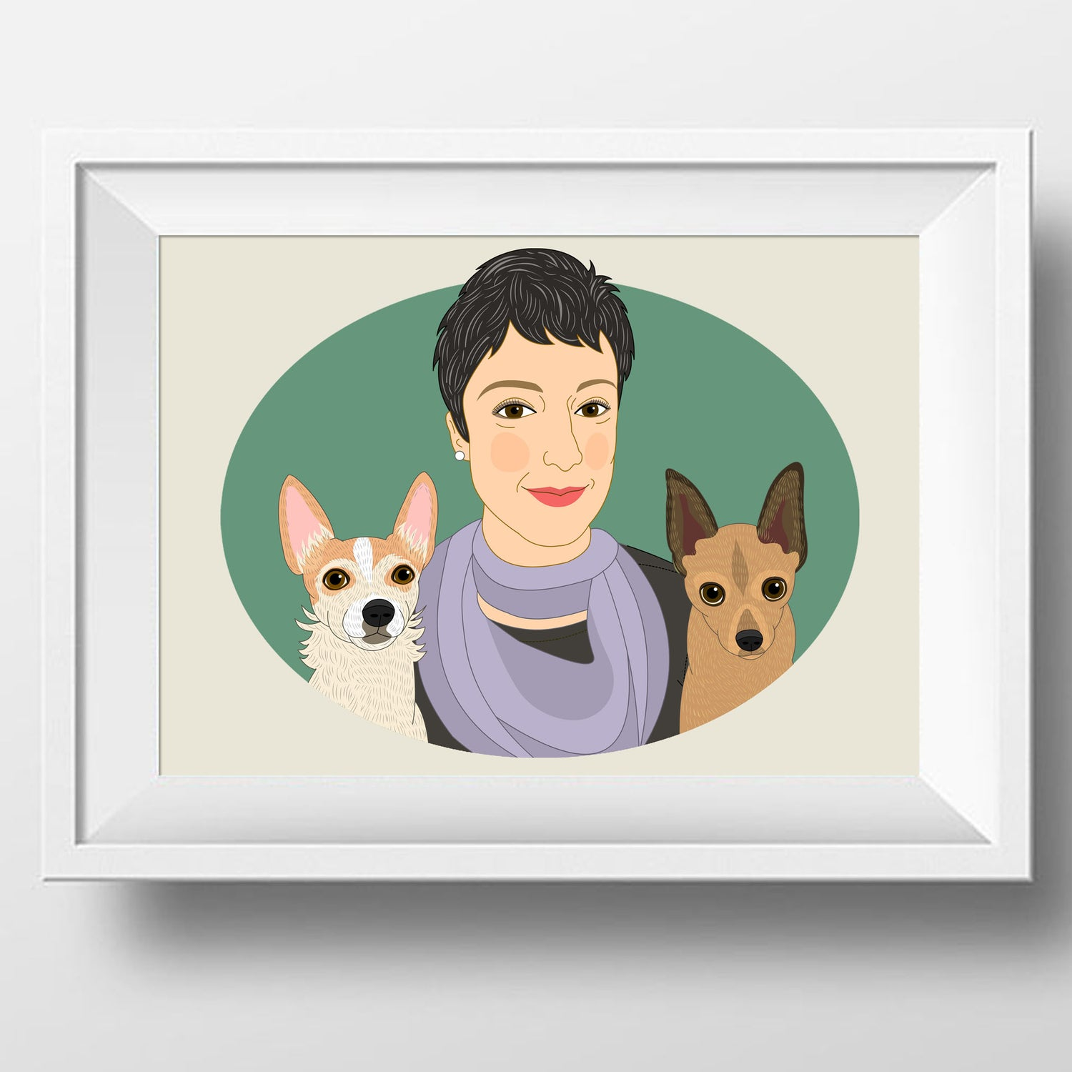 Image of Custom Portrait from photo. Portrait with 2 pets, personalized illustration with dogs or cats.