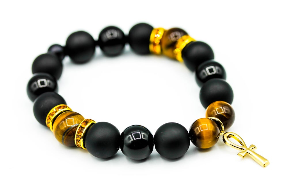 Image of Black & Gold Ankh Bracelet