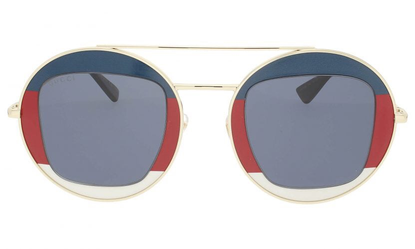 Image of Gucci GG0105S 005 Striped Red White and Blue Round Frame