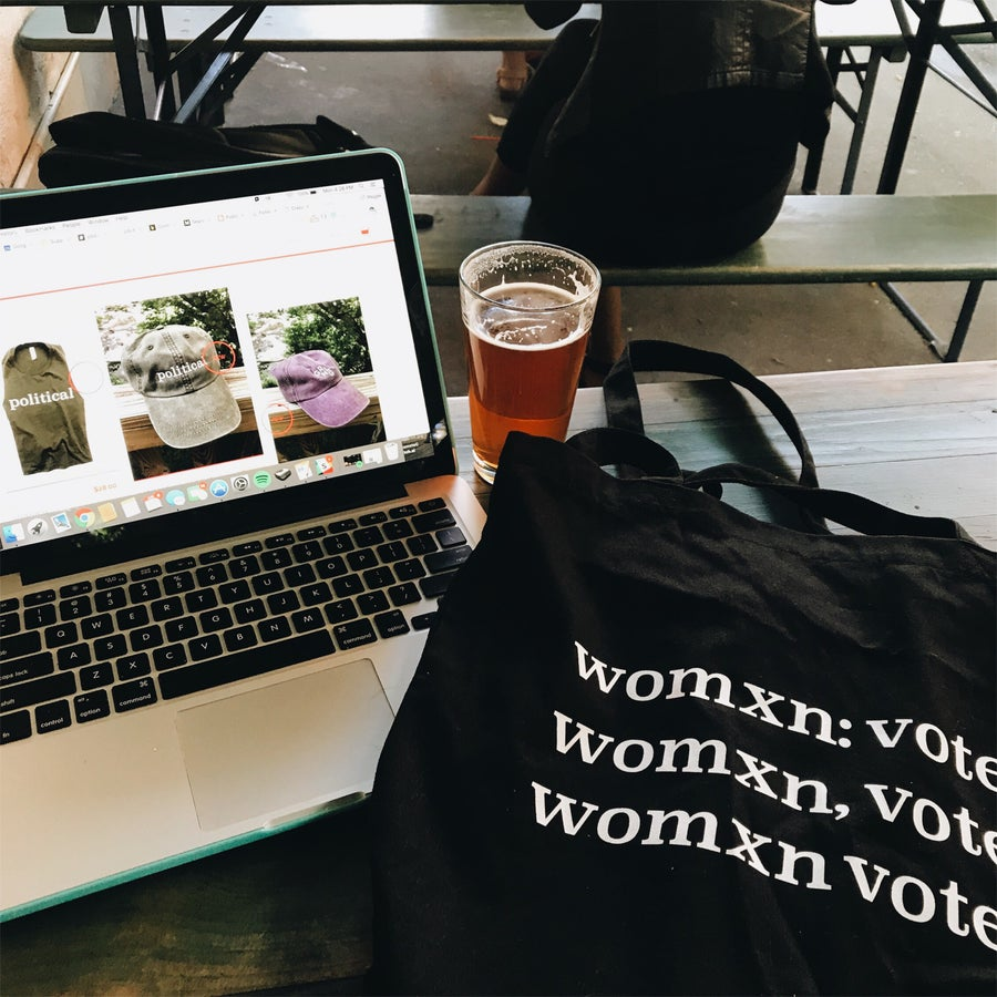 Image of womxn vote tote bag