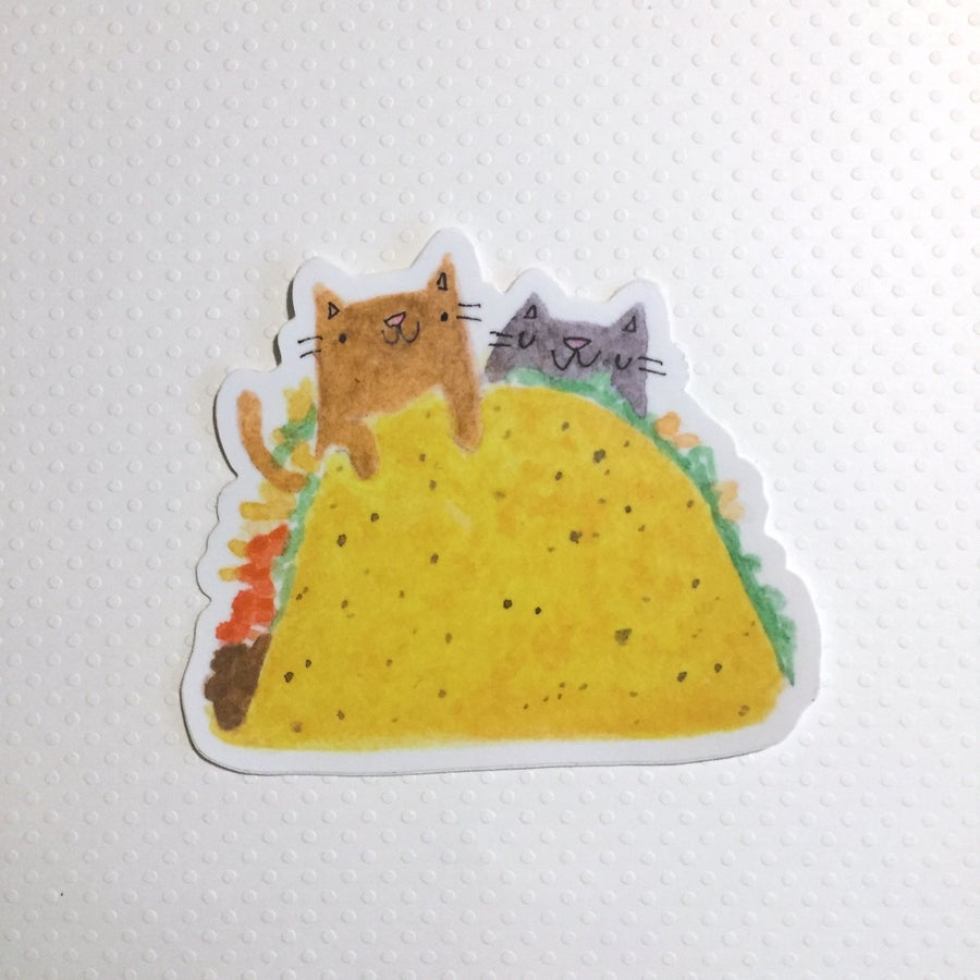 Image of cat taco sticker