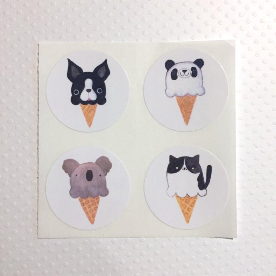 Image of animal ice cream sticker set (small pack)