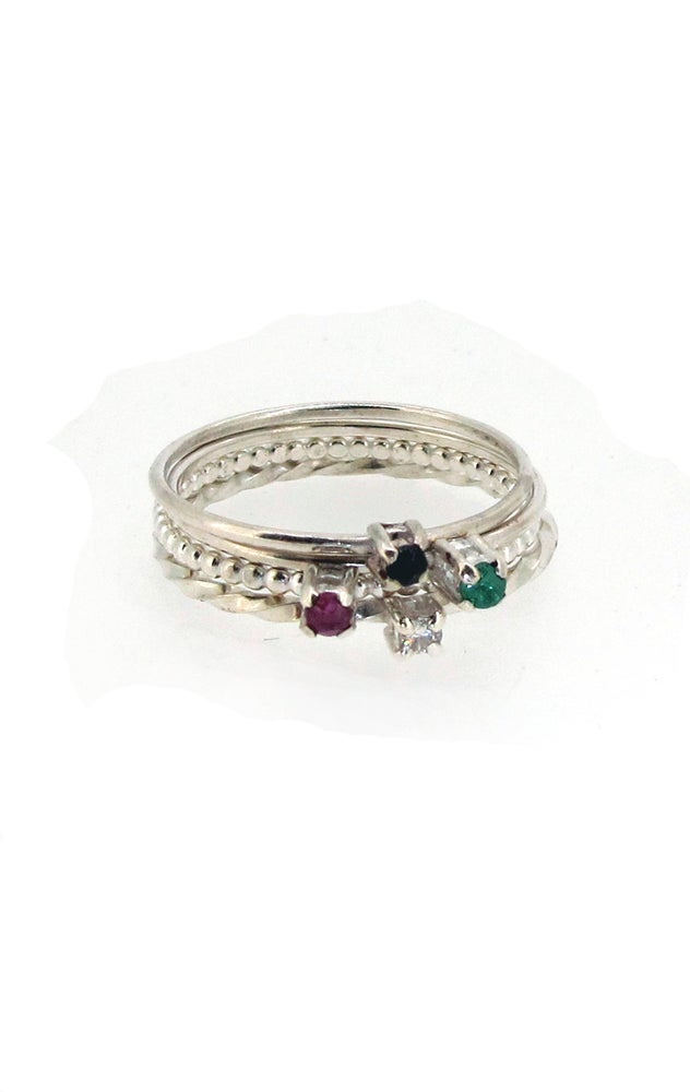 Image of {NEW} Ruby, Emerald, Diamond or Sapphire Stacking Ring