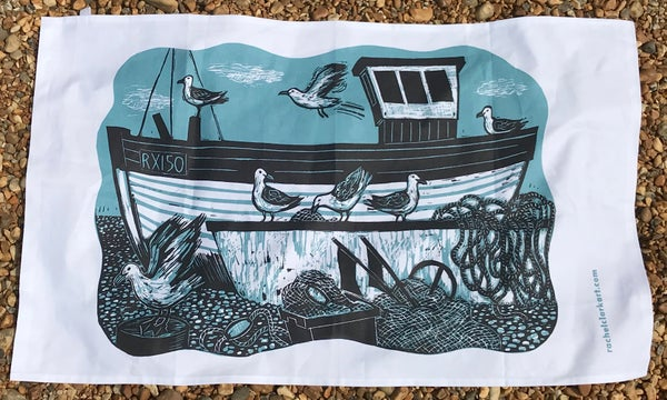 Image of 'Fishing boat and gulls' tea towel