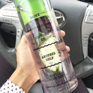 Image of Infusion Water Bottle with Drink Tracker - Green