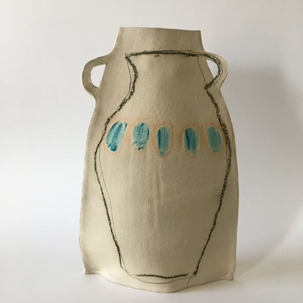Image of grey and turquoise vase