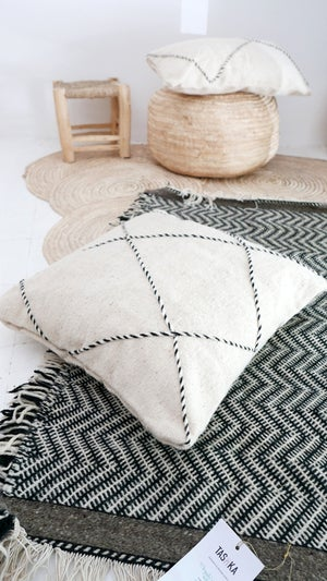 Image of Moroccan Wool Floor Cushion - Diamonds