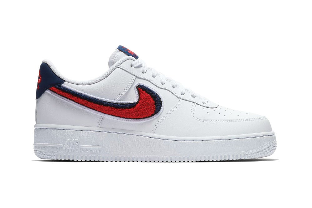 Image of Air Force 1 Low 3D Chenille Swoosh White Red Blue 823511-106