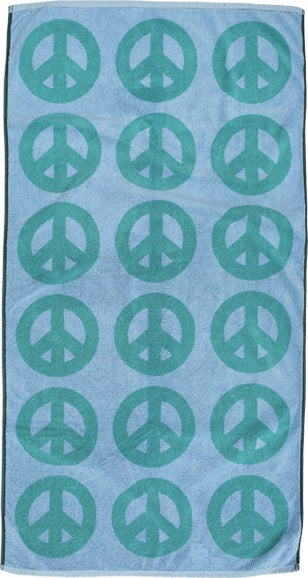 Image of Large Peace Towel <div> Teal & Lt. Blue</div>
