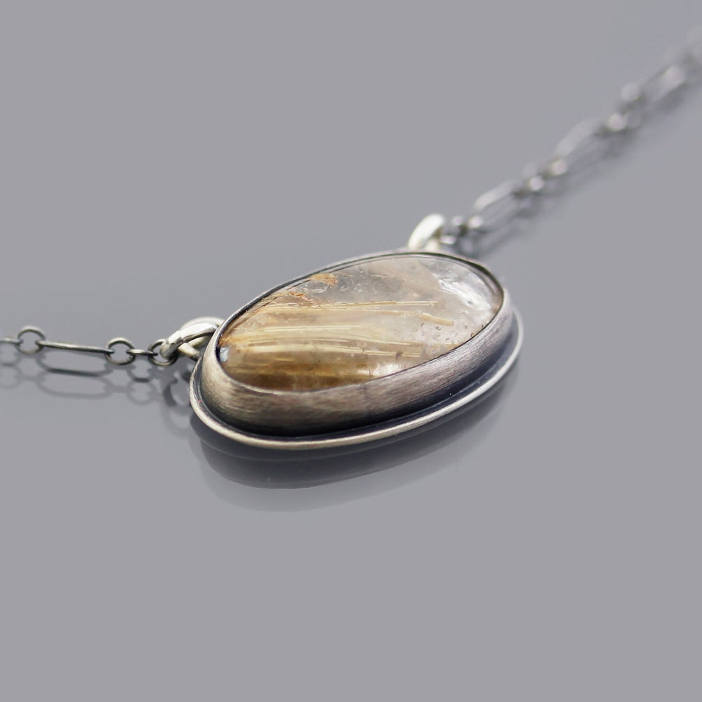 Image of Sterling Silver Rutilated Quartz and Honey Bee Necklace
