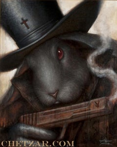 "Image of ""Black Rabbit"" Canvas Giclee 11x14"""