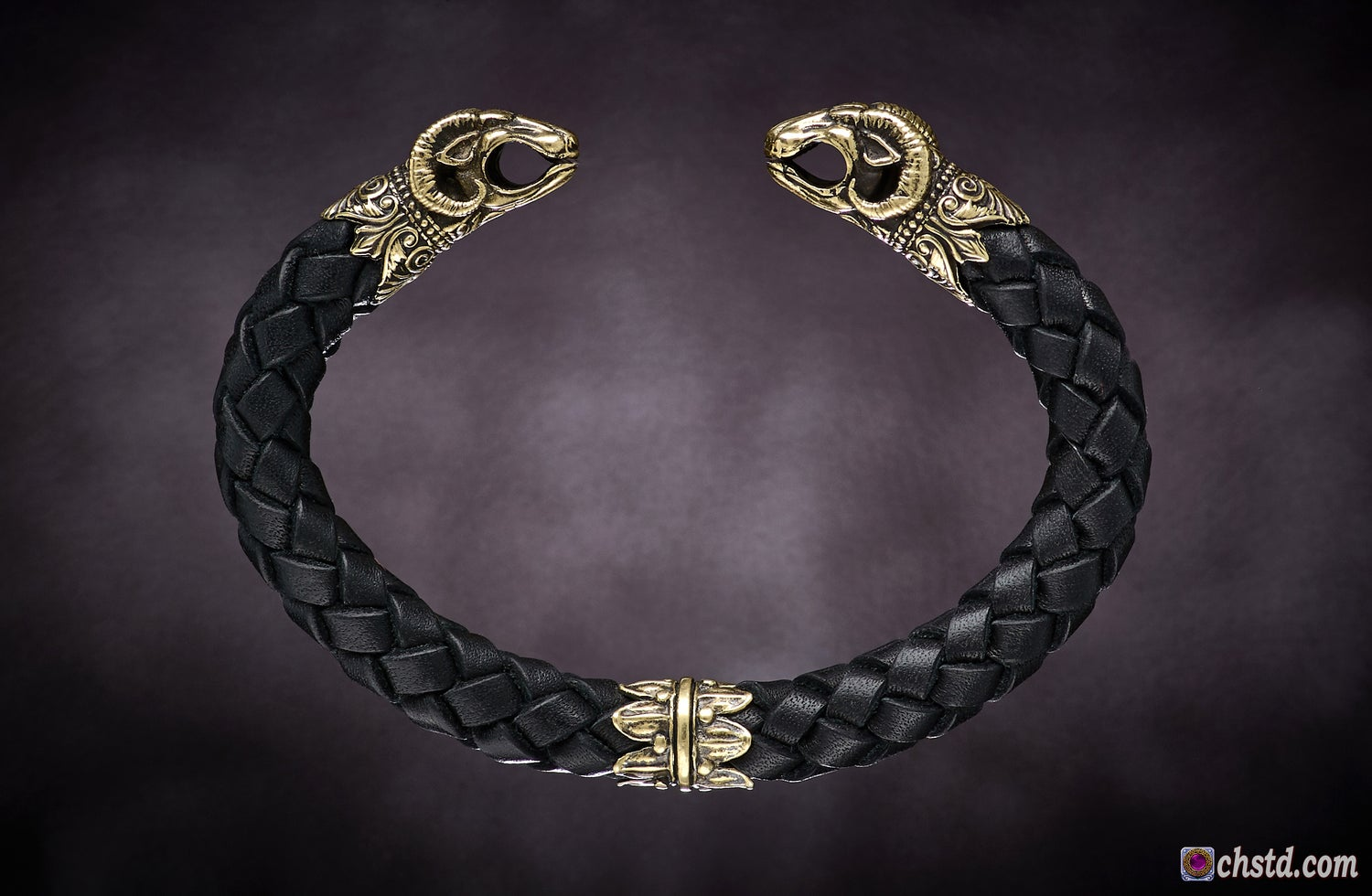 Image of Leather Torc Bracelet / Aries / Black