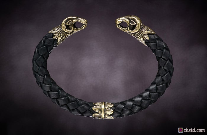 Image of Leather Torc Bracelet / Aries