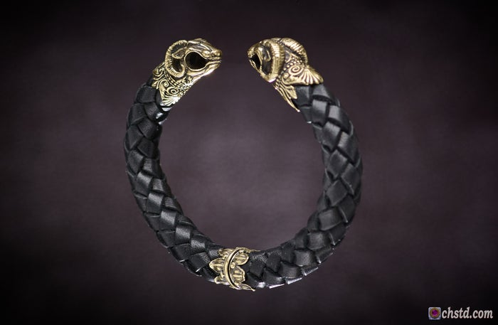 Leather Torc Bracelet / Aries / Black