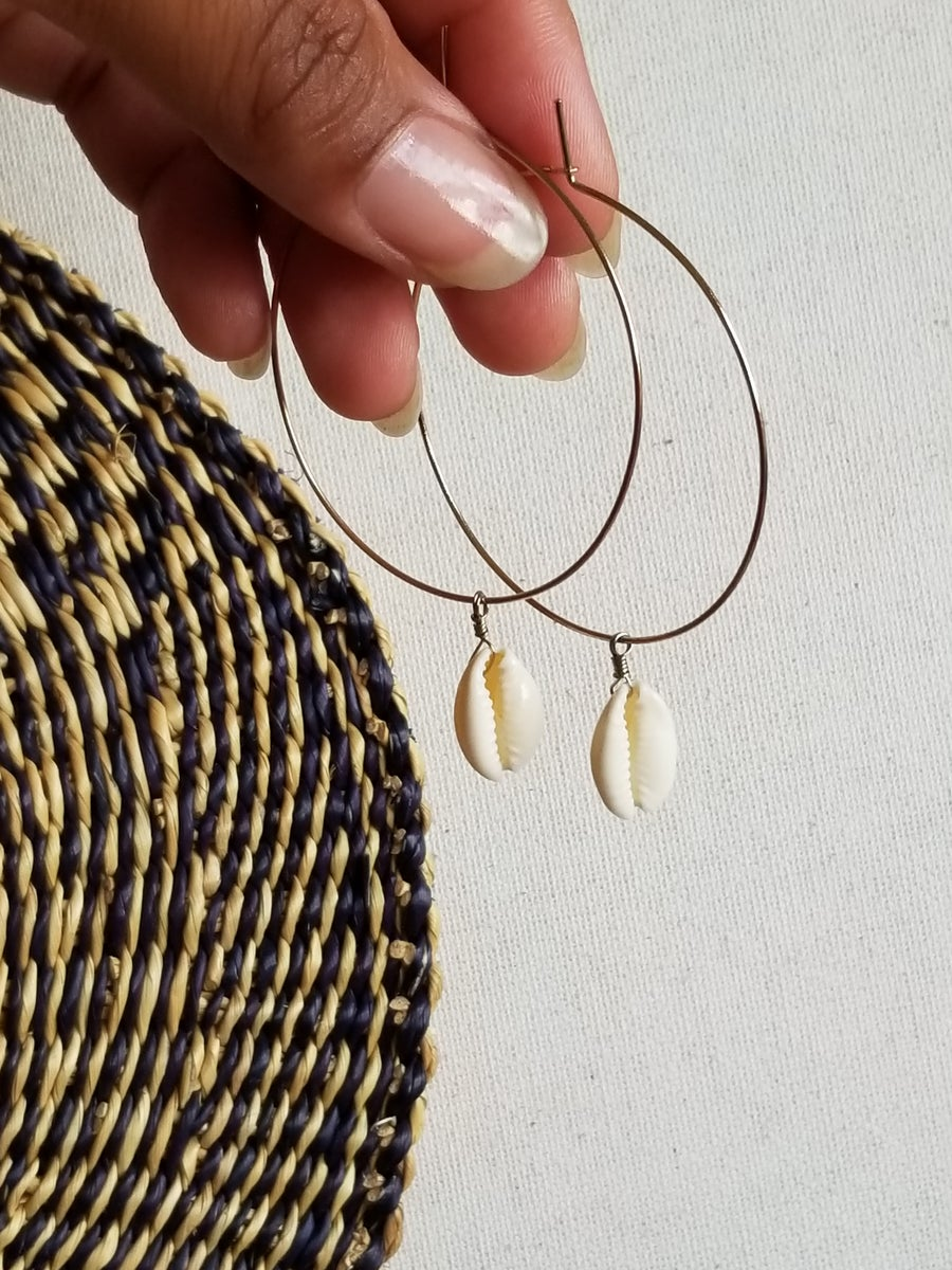Image of •Cowrie Shell Hoops•