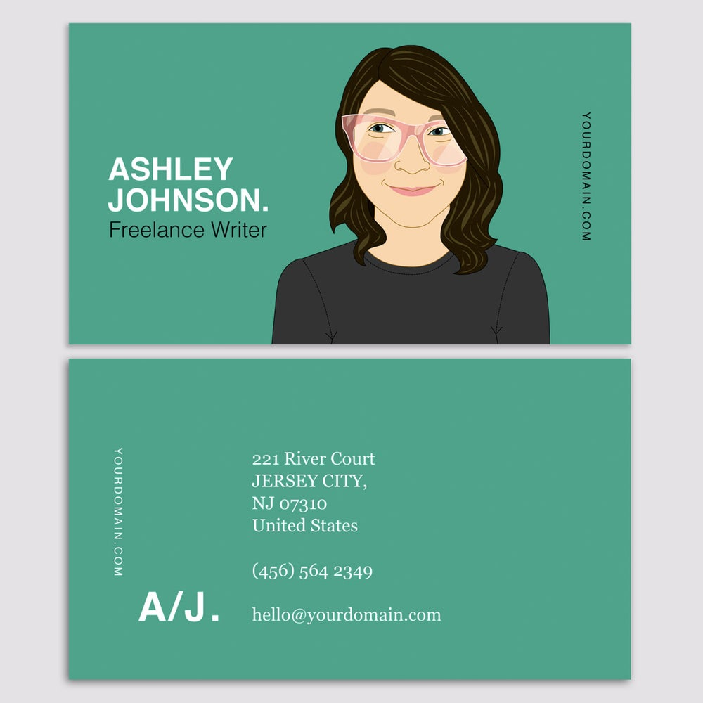 Quirky custom portraits of people and pets by lili di prima share image of business card custom portrait colourmoves