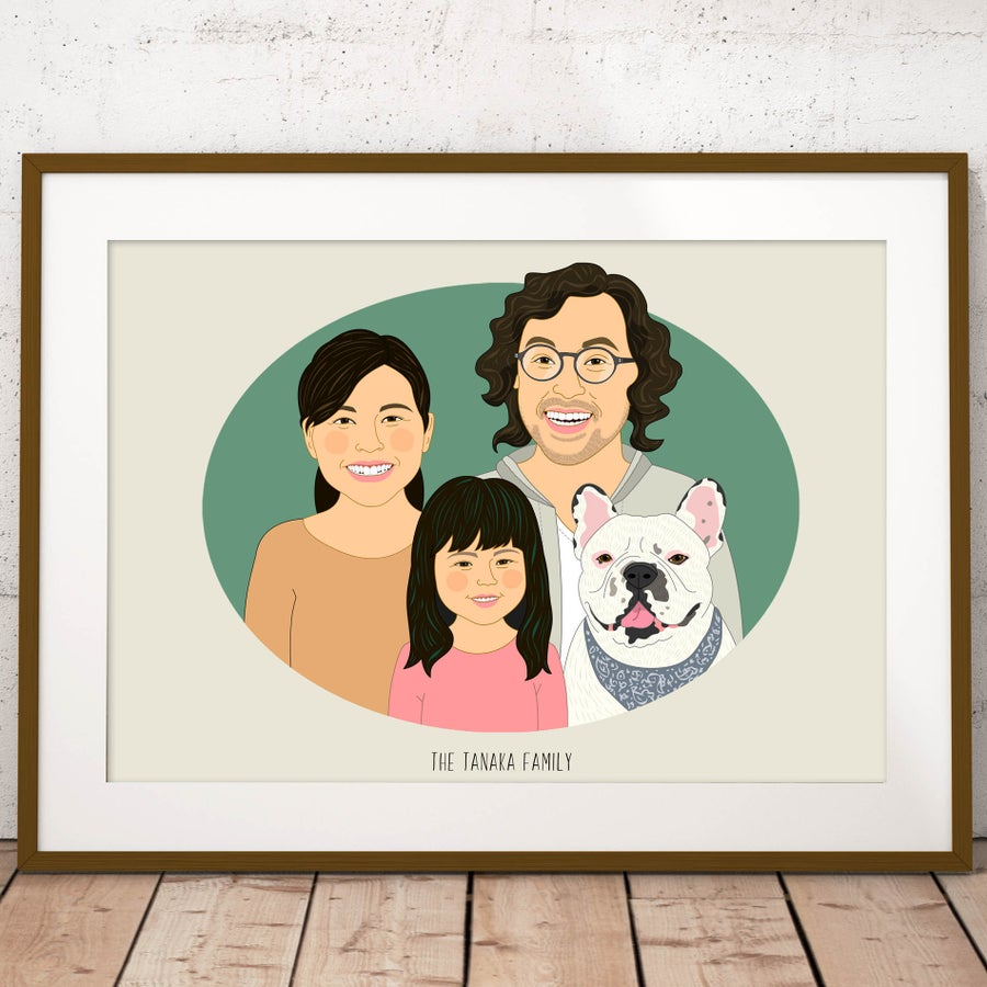 Image of Custom Family portrait of 3 people and a pet. Custom Family Illustration from photo.