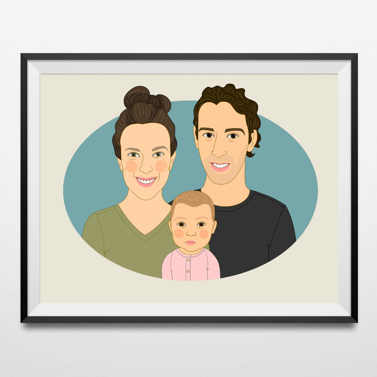 Image of Family portrait of 3 people. Custom Family Illustration.