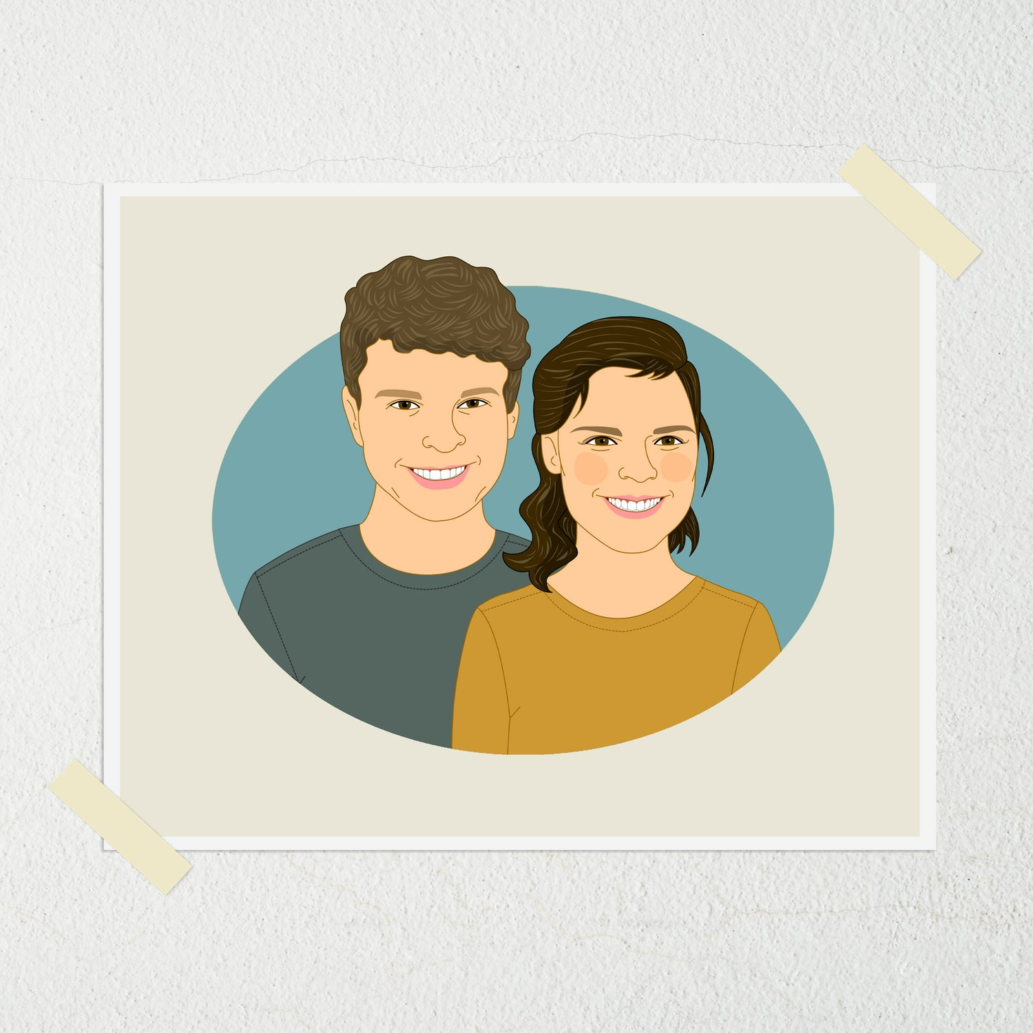 Image of Custom Couple Portrait from photo. Couple portraits, personalized illustration of 2 person.