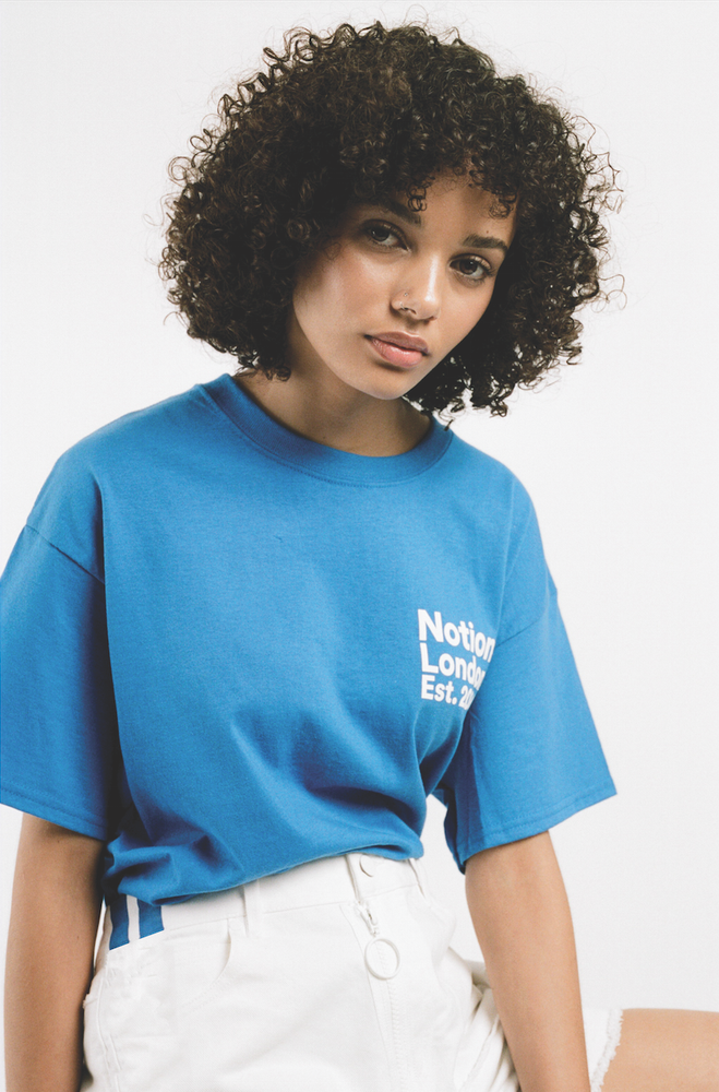 Image of Notion London Unisex Institutional Logo T-Shirt - Blue