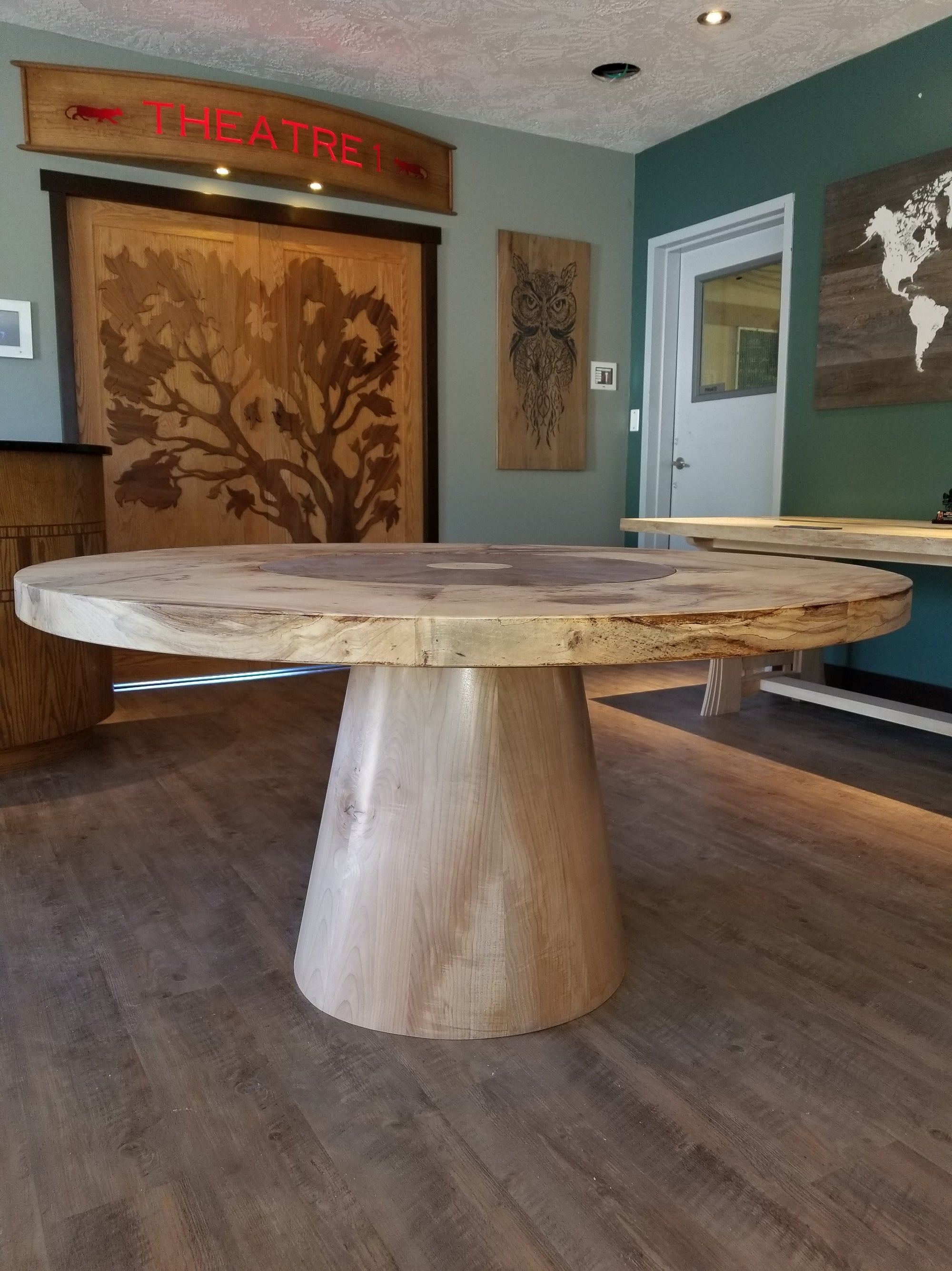 Round Spalted Maple Dining Room Table with Walnut Lazy Susan