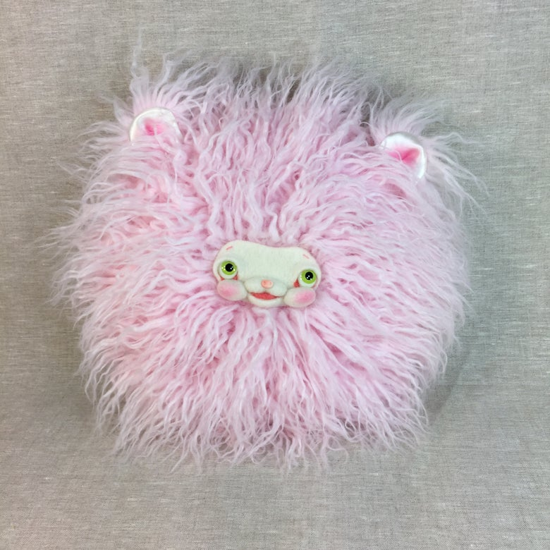 Image of Yak Faced Pillow in Pink with Ears