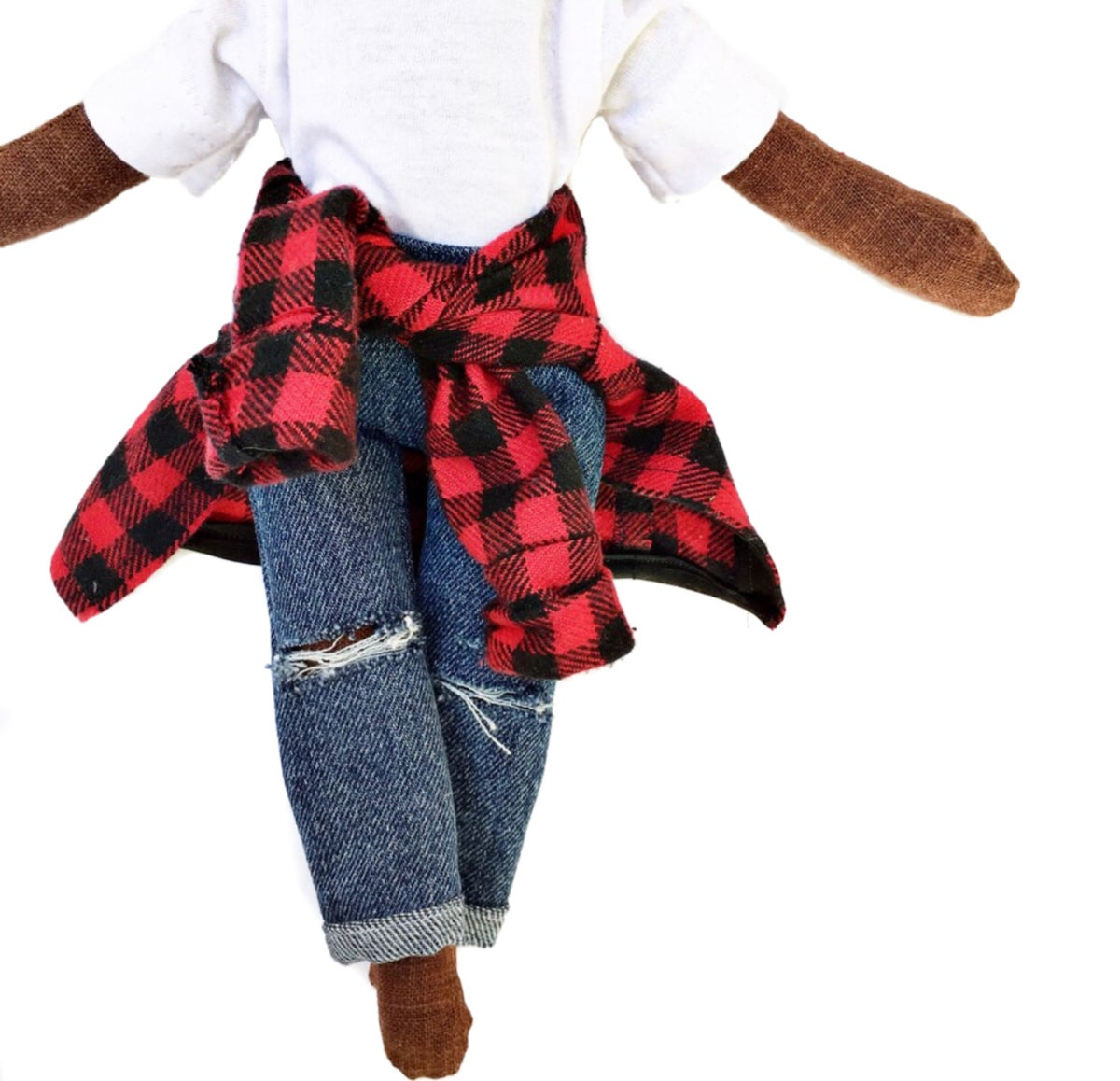 3pc Accessory- distressed denim pant,white tee, plaid wrap around (PLEASE NOTE: THIS ORDER WILL SHIP