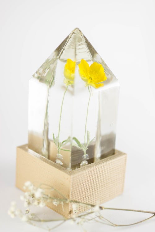 Image of Buttercup (Ranunculus acris) - Floral Prism Desk Light #1