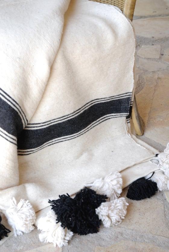 Image of Plaid en laine écru et noir