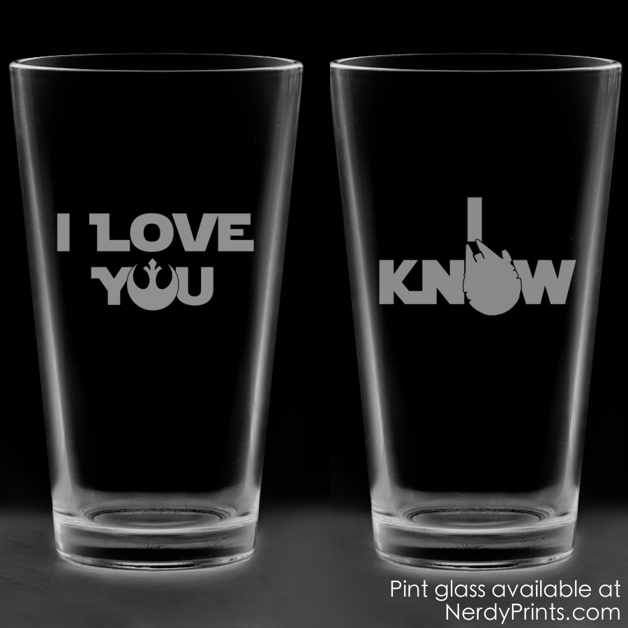 "Image of ""I Love You"", ""I Know"" Star Love Couples Pint Glass Set"