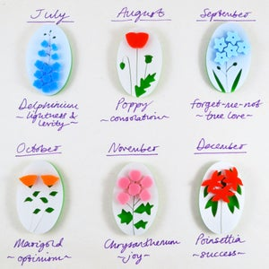 Image of Months and Meanings Flower Brooches (July to December)