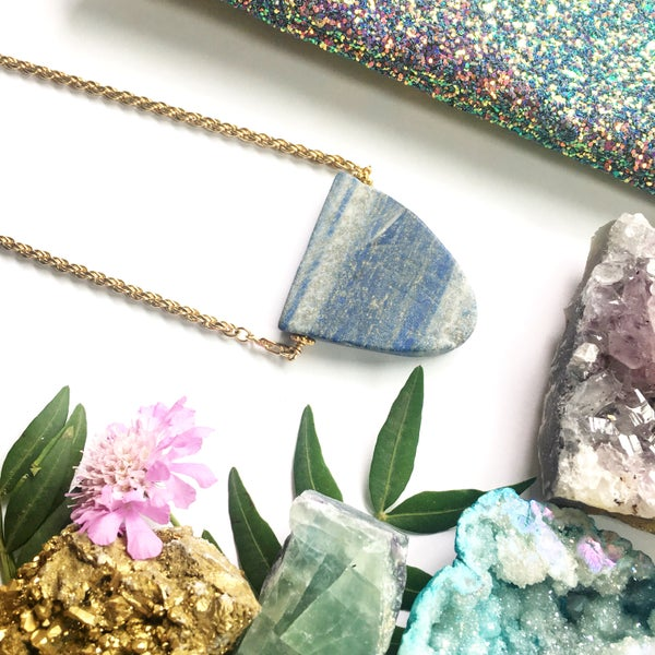 Image of Lazuli Mountain Necklace - one of a kind, Vintage Chain