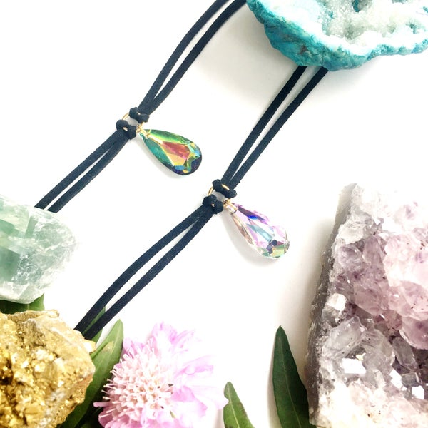 Image of Crystal Teardrop Choker - Vegan Friendly Faux Suede