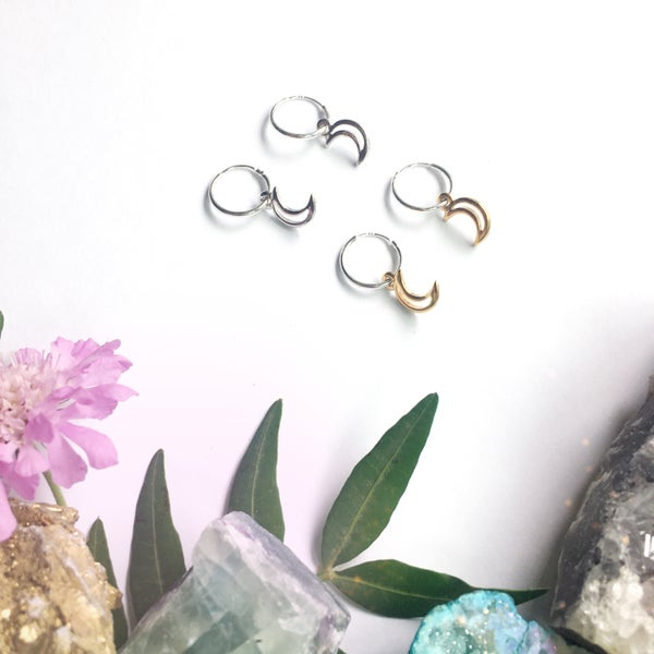 Image of Moon Hoop Earrings - Sterling Silver