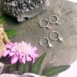 Image of Stone Hoop Earrings - Pink Tourmaline / Moonstone